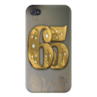 caja de la mota del número 65 del oro del Victoria iPhone 4 Cárcasas