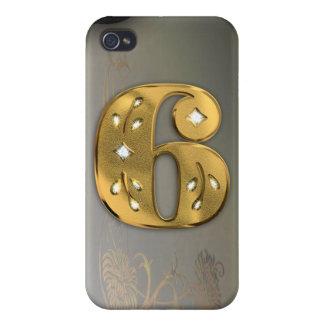 caja de la mota del número 6 del oro del Victorian iPhone 4 Carcasa