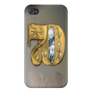 caja de la mota del número 70 del oro del iPhone 4 carcasas