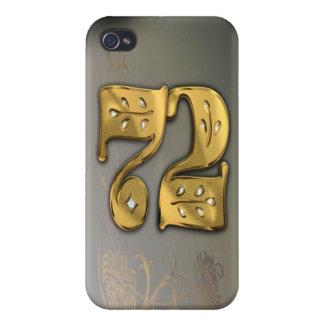 caja de la mota del número 72 del oro del Victoria iPhone 4 Coberturas