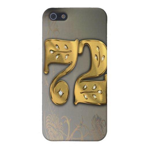 caja de la mota del número 72 del oro del Victoria iPhone 5 Protectores