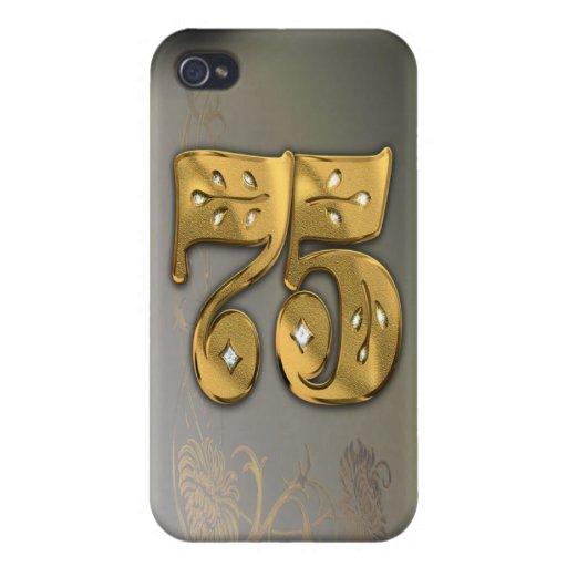 caja de la mota del número 75 del oro del Victoria iPhone 4/4S Funda
