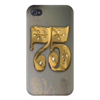 caja de la mota del número 75 del oro del Victoria iPhone 4 Funda