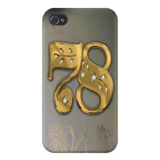 caja de la mota del número 78 del oro del Victoria iPhone 4 Cobertura