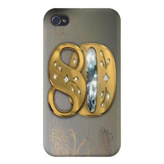 caja de la mota del número 80 del oro del Victoria iPhone 4 Carcasa