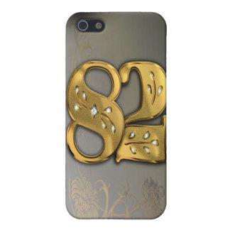 caja de la mota del número 82 del oro del Victoria iPhone 5 Fundas