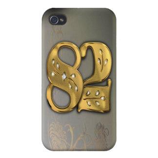 caja de la mota del número 82 del oro del Victoria iPhone 4 Fundas