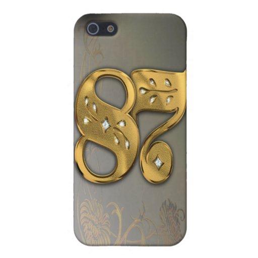 caja de la mota del número 87 del oro del Victoria iPhone 5 Funda