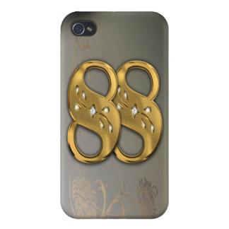 caja de la mota del número 88 del oro del Victoria iPhone 4/4S Fundas