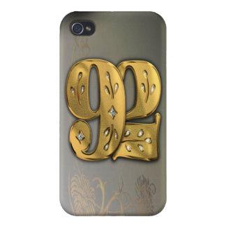 caja de la mota del número 92 del oro del Victoria iPhone 4/4S Fundas