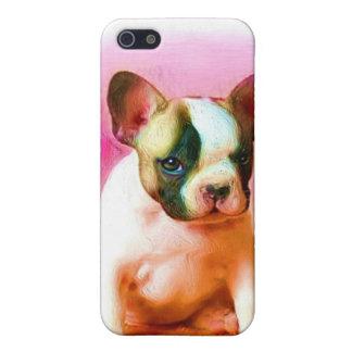 Caja de la mota del perrito del dogo francés iPhone 5 carcasa