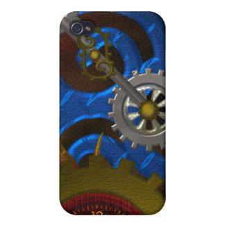 Caja de la mota del reloj de Steampunk iPhone 4 Fundas