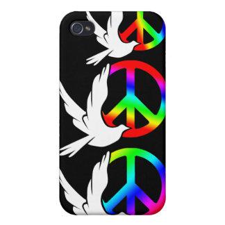Caja de la mota del signo de la paz de la paloma d iPhone 4 cobertura