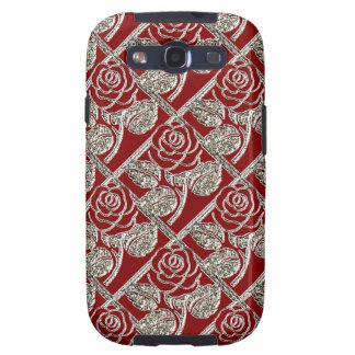 Caja de la Plata-Galaxia s3 del metal Roses-03-Red Galaxy S3 Fundas