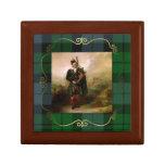 Caja de la teja de la tela escocesa de la pintura  joyero cuadrado pequeño