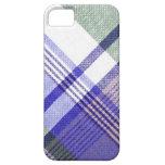 Caja de la tela escocesa de tartán del gris azul iPhone 5 Case-Mate cárcasas