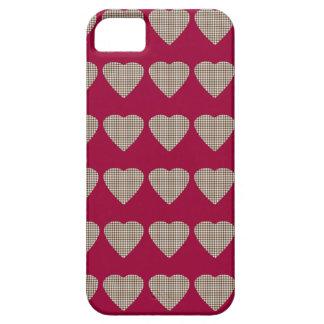 Caja de la tela escocesa del corazón del tartán iPhone 5 fundas
