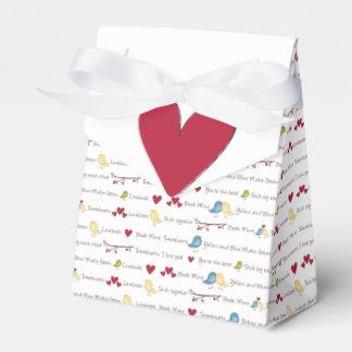 Caja de la tienda del favor de los lovebirds de cajas para regalos de fiestas
