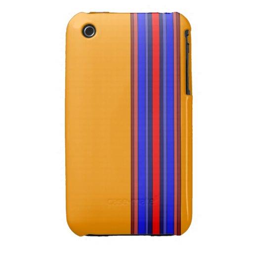 Caja de las rayas verticales de los rojos/de los a iPhone 3 Case-Mate cárcasa