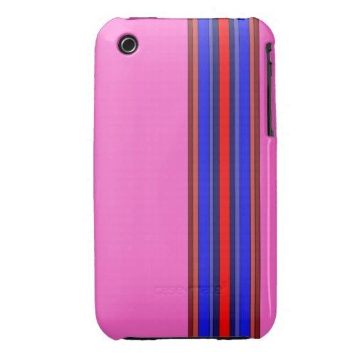 Caja de las rayas verticales de los rojos/de los a iPhone 3 Case-Mate carcasa
