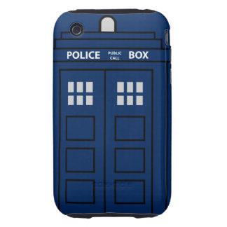 Caja de llamada azul de policía funda resistente para iPhone 3