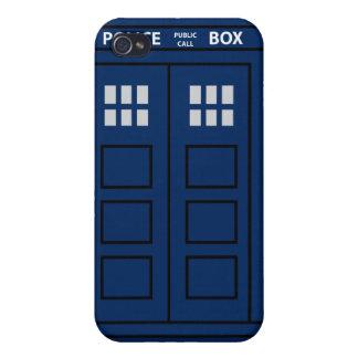 Caja de llamada azul de policía iPhone 4 fundas