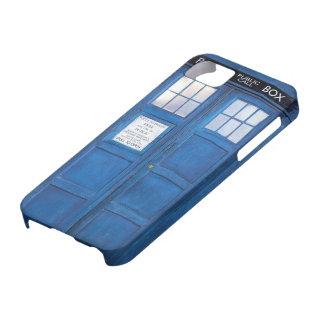 Caja de llamada divertida azul de la cabina de iPhone 5 coberturas