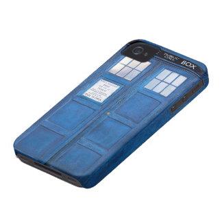 Caja de llamada divertida azul de la cabina de iPhone 4 Case-Mate cárcasa