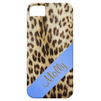 caja de los azules cielos del monograma del leopar iPhone 5 funda