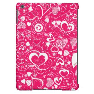 Caja de los Doodles del amor del corazón, rosada y