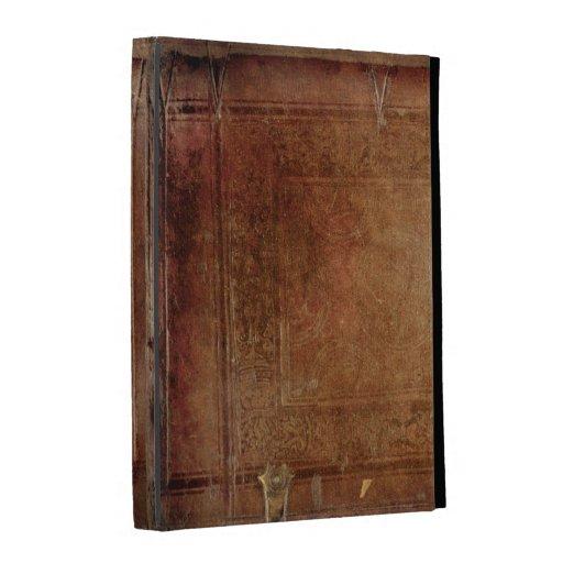 Caja de madera antigua del folio del iPad de la im