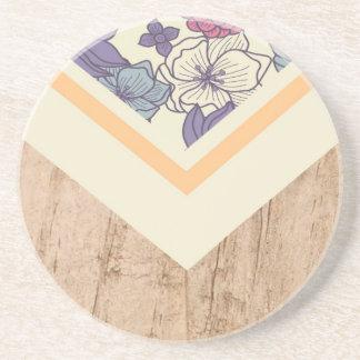 Caja de madera azul del teléfono de la flor del posavaso para bebida