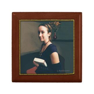 Caja de madera de la baratija de la foto de joyero cuadrado pequeño