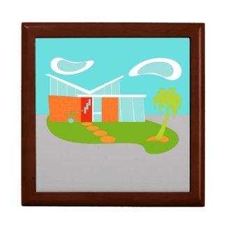 Caja de madera de la casa moderna del dibujo joyero cuadrado grande