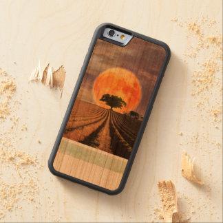 Caja de madera de la luna de cosecha funda de iPhone 6 bumper cerezo