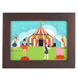 Caja de madera del recuerdo del circo del vintage cajas de recuerdos