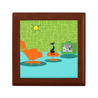 Caja de madera del recuerdo del gatito retro de la joyero cuadrado pequeño