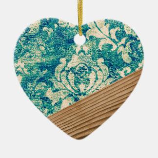 Caja de madera del teléfono del trullo del Grunge Adorno De Cerámica En Forma De Corazón