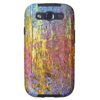 Caja de madera multicolora saltada de la galaxia S Galaxy S3 Cobertura