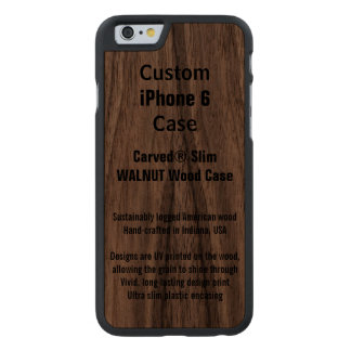 Caja de madera real del teléfono de la nuez de funda de iPhone 6 carved® slim de nogal