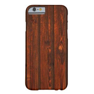 Caja de madera rústica del grano funda para iPhone 6 barely there
