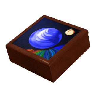 Caja de mármol cósmica azul abstracta cajas de recuerdo