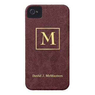 Caja de mármol de Borgoña Blackberry del monograma iPhone 4 Protector