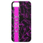 Caja de mármol negra y púrpura del CUERVO de Bling iPhone 5 Protector