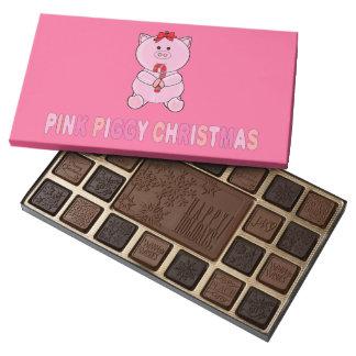 Caja de navidad guarra rosada de chocolates caja de bombones variados con 45 piezas