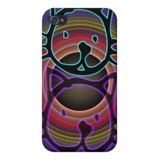 Caja de neón enrrollada linda de la mota del iPhon iPhone 4 Cobertura