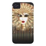 Caja de oro de Blackberry de la máscara del fiesta iPhone 4 Case-Mate Carcasas