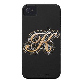 "Caja de oro de la inicial ""K"" - Blackberry iPhone 4 Case-Mate Cárcasa"