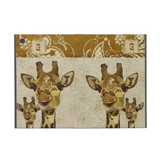 Caja de oro del iPad del monograma de las jirafas  iPad Mini Protector