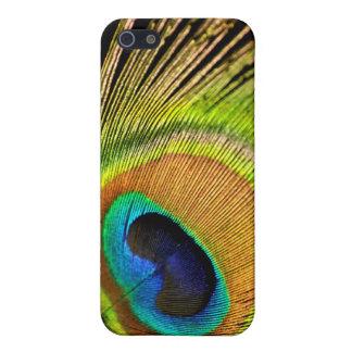 Caja de oro del iPhone 4/4S de la pluma del pavo r iPhone 5 Funda